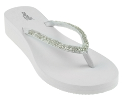 73de75c3b71a Capelli New York Ladies Solid Wedge Flip Flop With Beaded Thong